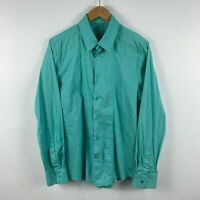 Guess Mens Button Up Shirt Size Large Light Green Collared Long Sleeve Slim Fit