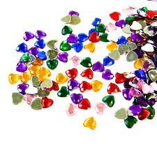 300 x 1cm Plastic / Acrylic HEART Gems  Faceted Flat back. Asst Colours.