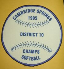 Vintage 1995 Cambridge Springs PA District 10 Softball Champions Patch