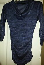 Ab studio ladies top black/blue cowell neck 3/4 sleeve  size small NWT