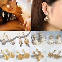 Women Earrings Boho Pearl Shell Eardrop Dangle Earring Geometric Hoop Jewelry