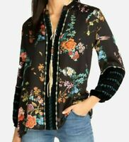 JOHNNY WAS PARIS EFFORTLESS EMBROIDERED BLOUSE WITH VELVET SZ XS