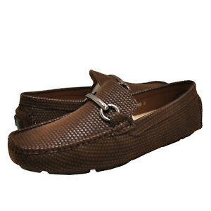 Men's Shoes Aldo Rossini LEO 3 Horse Bit Slip On Loafers 91765 BROWN