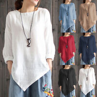 Women Vintage Cotton Linen Long Sleeve Baggy Shirt Casual Loose Blouse Tee Tops