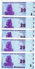 LOT Zimbabwe, 5 x $20, 2009, P-95, AA-prefix, UNC