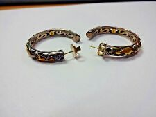 Pre Owned John Hardy Sterling / 22k DAYAK Hoop Earrings 41mm Across 22.1gms