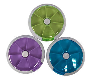 Semi Auto Travel Size Push Button 7 Day Pill Box Tablet Dispenser Organizer UK