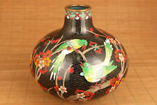 chinese cloisonne hand painting plum blossom love bird vase