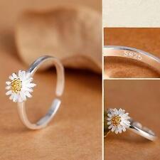 Lover Sterling Silver Engagement Ring Sunflower Daisy Adjustable Finger
