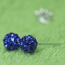 NEU 925 Silber 6mm OHRSTECKER 2mm STRASSSTEINE in saphir/blau/sapphire OHRRINGE