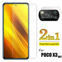 2 in 1 For Xiaomi POCO X3 NFC Tempered Glass Screen Protector + Camera Lens Film