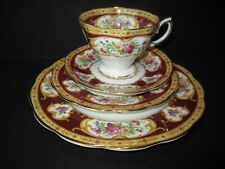 4 Piece Royal Albert Crown Lady Hamilton Tea Cup Sauce China Side & Lunch Plate
