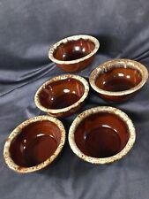 """Set Of 5 - Vintage Hull Brown Drip Glaze Ceramic 5 1/2"""" Cereal Soup Fruit Bowls"""