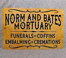 """Metal Sign NORM and BATES MORTUARY funerals coffins Mortician science 8"""" x 12"""""""