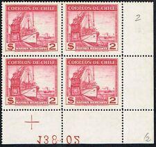 CHILE 1939 STAMP # 262 wmk 2 MNH BLOCK OF FOUR SHIP VISTAS Y PAISAJES