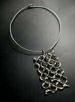 Israel Pendant Necklace Sterling Silver 925 Vintage Modernist Brutalist  HUGE