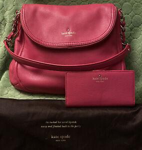 Womens Kate Spade Hobo Chain Leather Handbag & Wallet Dark Pink Used Once $428