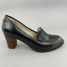 Boden Grey Patent Leather Slip On Court Heeled Loafers Pumps Shoes Size 39 UK6