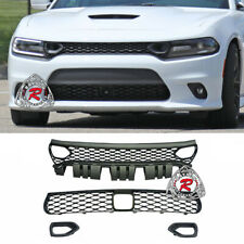 SRT-8 Hellcat Style Grill Set w/ Air Inlets w/ ACC Hole Fits 15-22 Dodge Charger