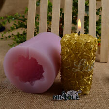 3D Rose Cylinder Silicone Candle Mold DIY Soap Craft Decorating Chocolate Mould