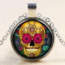Sugar Flower Skull Cabochon Tibetan silver Glass Chain Pendant Necklace #4
