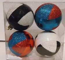 4 Red Turquoise Black White Glitter Patterns Christmas Tree Holiday Decorations
