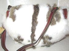 New Patricia Nash leather Half Moon Palma Saddle Bag Rabbit Fur NWT $249