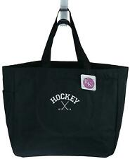 Hockey & Xed Sticks & Puck Monogram Bag Black Tote Sports Team Coach Mom Gift