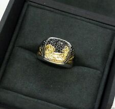 David Yurman 18k Gold Sterling Silver Waves Tsunami Mens Black Diamond Ring wBox
