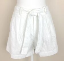 Polo Ralph Lauren Women's Shorts White Eyelet Cotton Pleated Lined NWT Sz 8