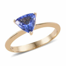 Superb 1ct  Trillion Cut AA Tanzanite Solitaire 14k Yellow Gold Ring BNWT