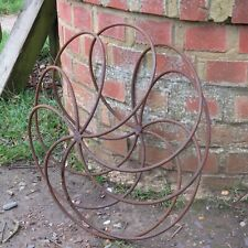 Large Rusty Metal Squashed Sphere / Wheel / Ball Ornament Garden Sculpture