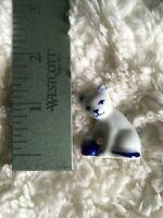 White Porcelain Cat Figurine w/ Blue Designs for Curio Shelf / Diorama