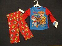 Nickelodeon Paw Patrol Boys 2 Piece Pajamas Set Size 2T Long Sleeve Pant Red NEW