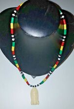 Rasta Beaded Necklace with Pendant - Made in GAMBIA