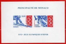 MONACO BLOC FEUILLET N. D.N°63a Jeux Olympiques de LILLEHAMMER, TB ** et R! 220€