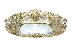 German 800 Silver Pierced Oval Candy Bowl, Century 1900.