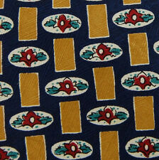 Structure Gold Navy Red Floral Geometric Silk Mens Neck Tie #Z1-376