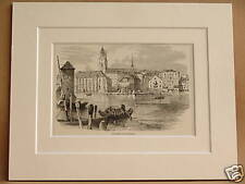 ZURICH CATHEDRAL ANTIQUE MOUNTED ENGRAVING c1890 V RARE