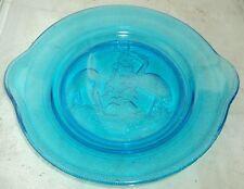 antiker Pressglas Teller mit Vogel Motiv blau um 1900