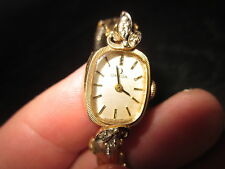 Vintage 1950's or 1960's Omega Womans 14kt Yellow Gold Watch with 4 Diamonds