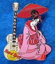 YOKOHAMA PINK PARASOL *GEISHA GIRL KIMONO *GIBSON GUITAR Hard Rock Cafe PIN LE