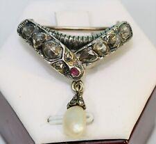 Barock Schlangenbrosche Silber vergoldet 585 Nadel ca 2 ct Diamanten Rosen Perle