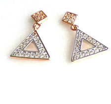 Women Triangle Dangle Earrings Simulated Diamond White Yellow Multi Gold Plated
