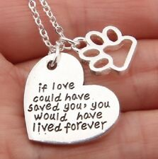 2 PART SILVER PENDANT NECKLACE DOG CAT REMEMBRANCE IF LOVE COULD HAVE SAVED YOU