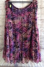 Macy's Investments II Long Skirt Polyester Purple Black Pink Lined 2X NWT $44