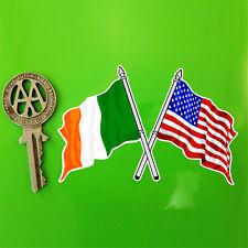 Crossed IRISH & AMERICAN Flags USA Flag sticker 10cm