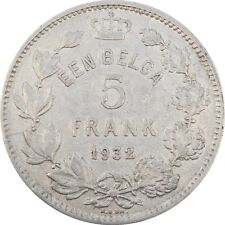 Belgium 5 Francs Enn Belga 1932 KM#98 Albert I Dutch Text (B-25)