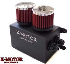 K-MOTOR BLACK ALUMINUM OIL CATCH CAN RESERVOIR TANK WITH BREATHER FILTER BAFFLED