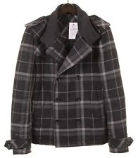 Dolce & Gabbana Made in ITALY Plaid Check FLANNEL Wool Peacoat Jacket 46 36